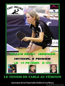Frat oullins re oit narbonne nationale 2 f minine 14 02 - Butterfly tennis de table france ...