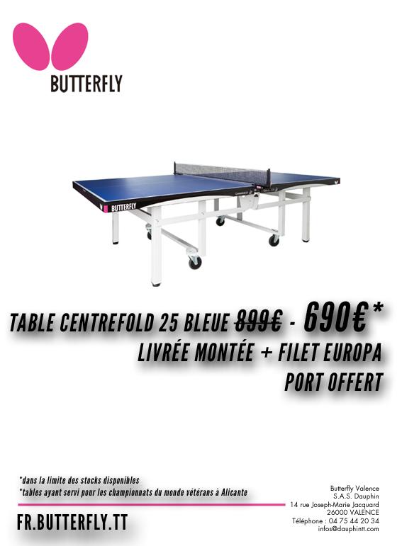 Partenariat tables butterfly centrefold 25 bleue 690 - Butterfly tennis de table france ...