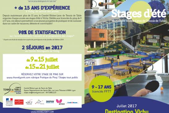 Les inscriptions aux stages d'été 2017 à Vichy sont ouvertes !