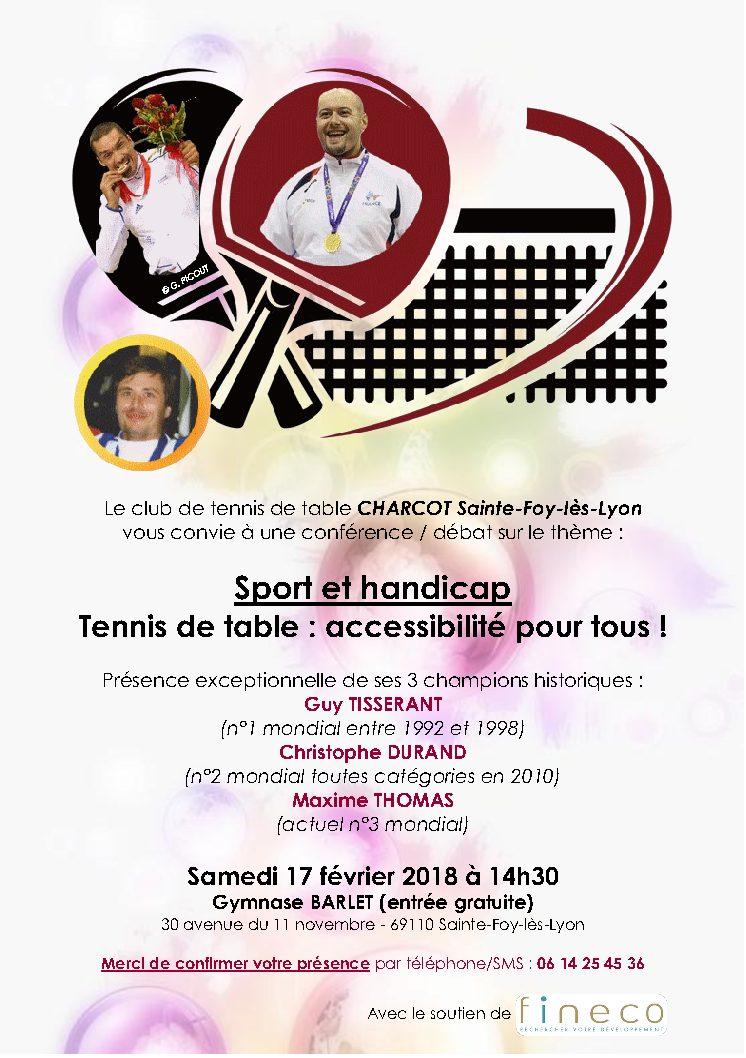 CHARCOT Sainte-Foy-lès-Lyon : Conférence Sport et Handicap – samedi 17 février à 14h30