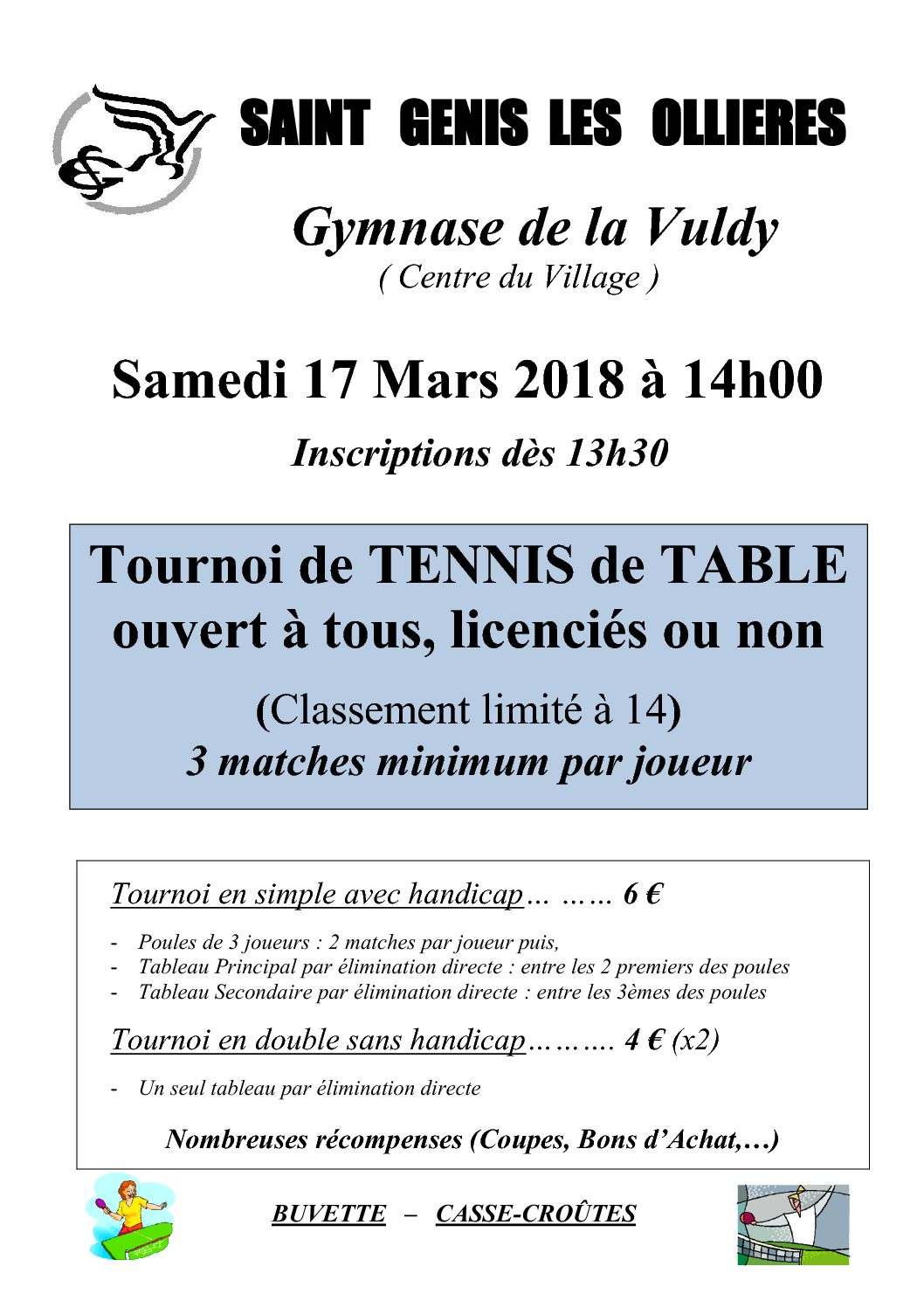 ESG Tennis de Table : tournoi de tennis de table ouvert à tous ! 17 mars 2018 à 14h