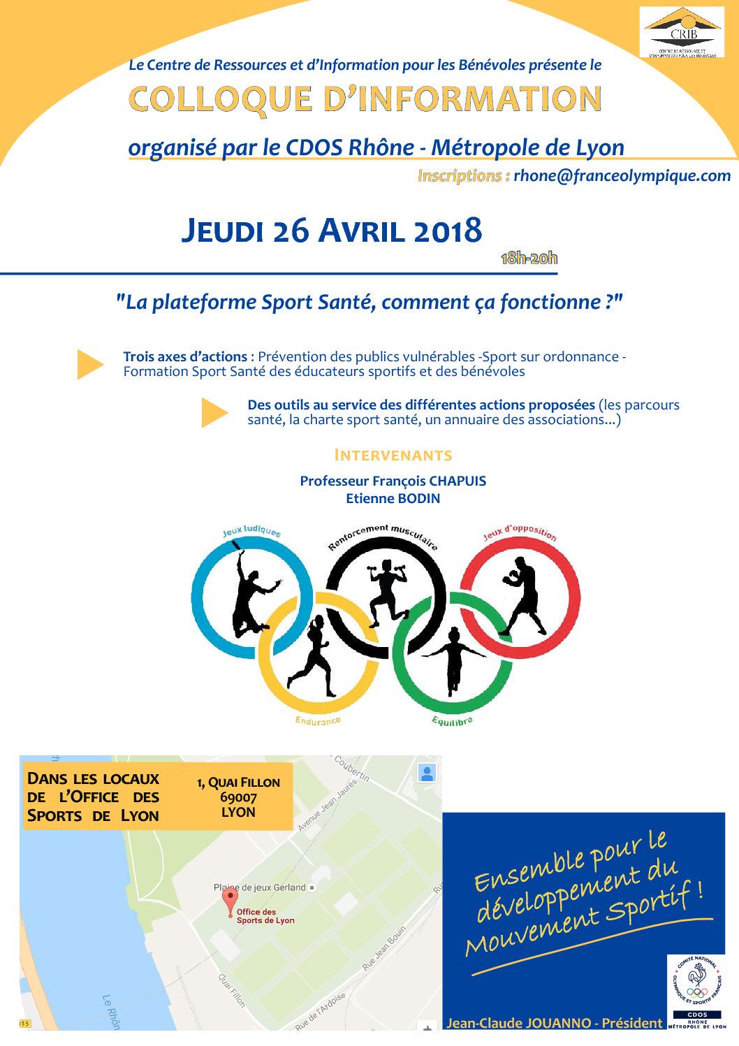 «La plateforme Sport Santé, comment ça fonctionne ?» – jeudi 26 avril 2018 – 18h – Office des Sports de Lyon (7ème)
