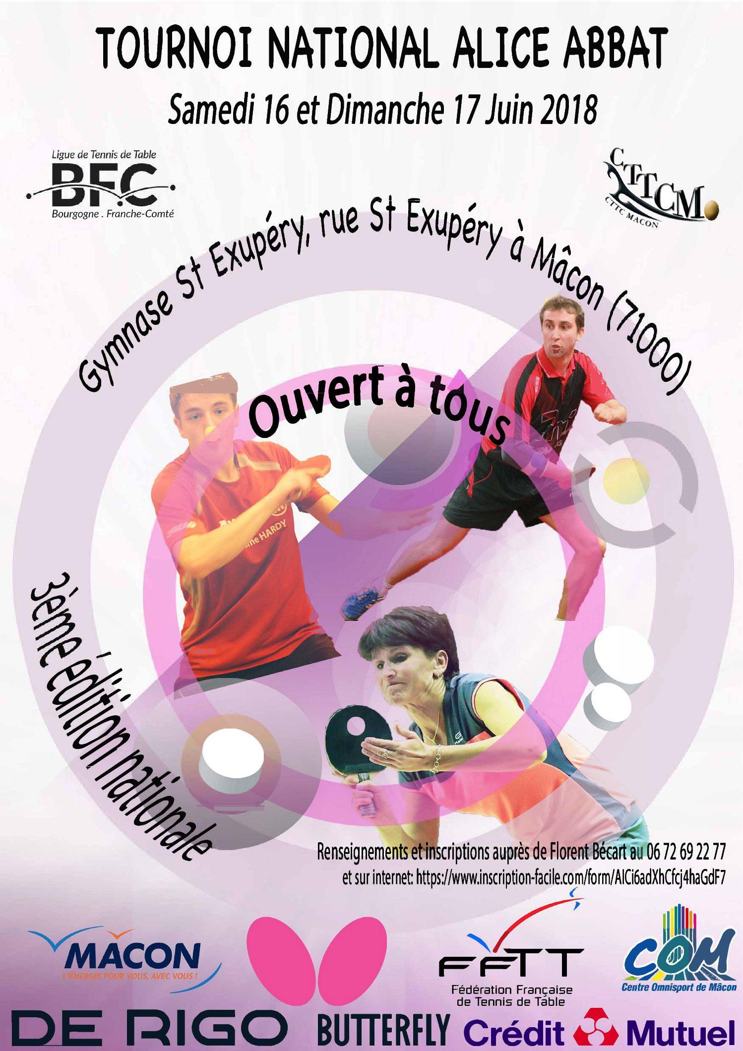 Tournoi National «Alice Abbat» – 16 et 17 juin 2018 – complexe Saint Exupéry de Mâcon (71)