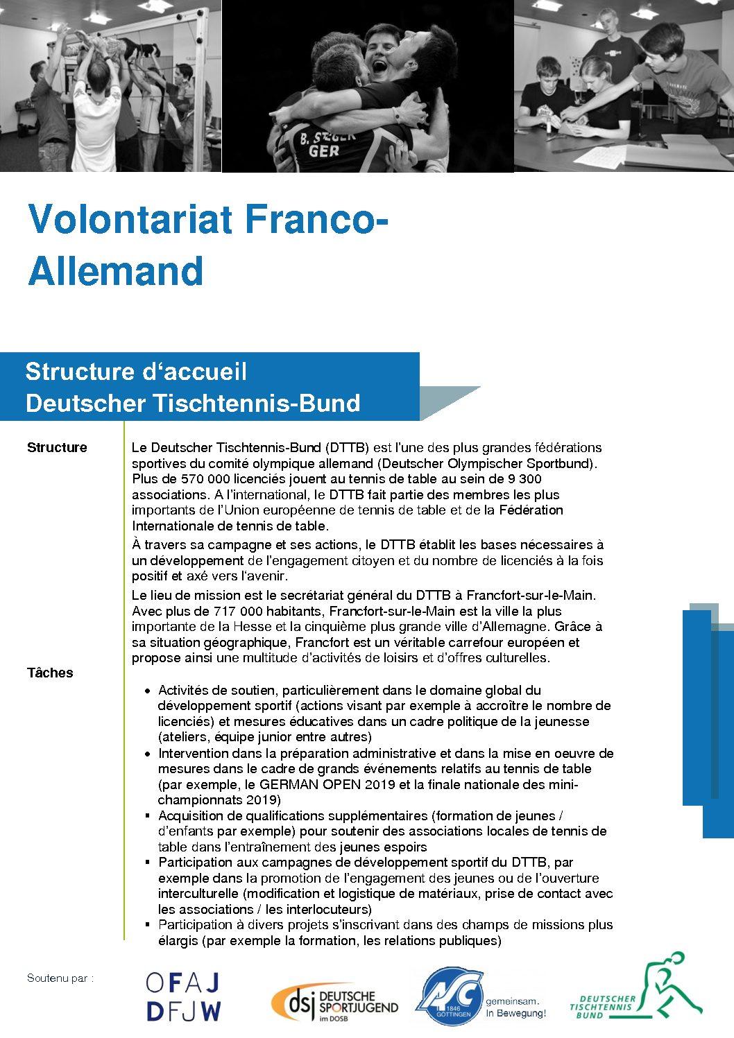 La Fédération Allemande de Tennis de Table recherche un(e) français(e) en service civique franco-allemand
