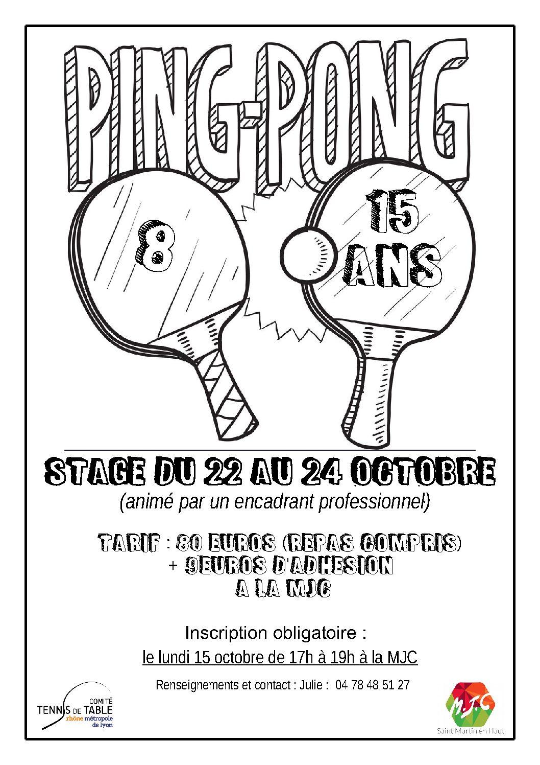 22 au 24 octobre : stage 8-15 ans à la MJC de St Martin en Haut