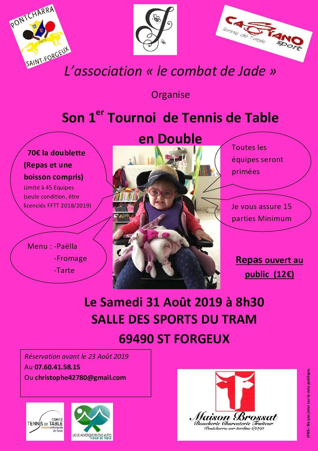 31 août 2019 / St Forgeux : l'association «le combat de Jade» organise son 1er tournoi en double