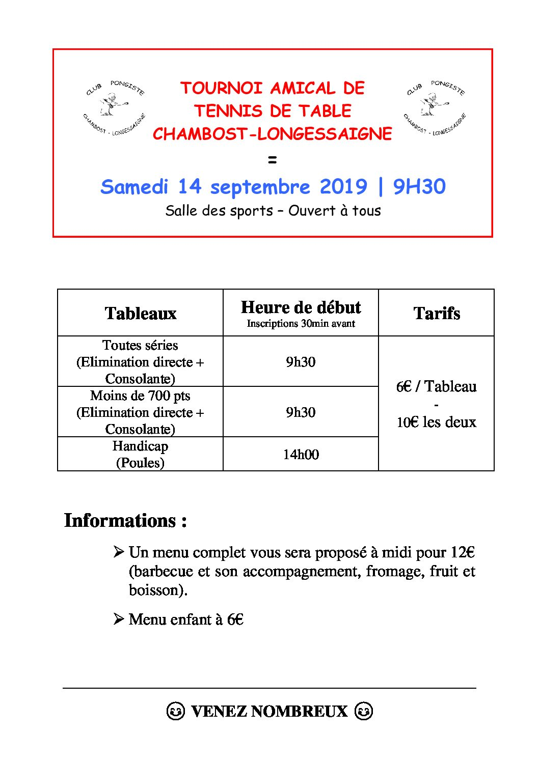 14 septembre 2019 : tournoi annuel du club de tennis de table de Chambost-Longessaigne (CPCL)