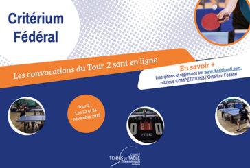 Critérium Fédéral Tour 2 : les convocations sont en ligne