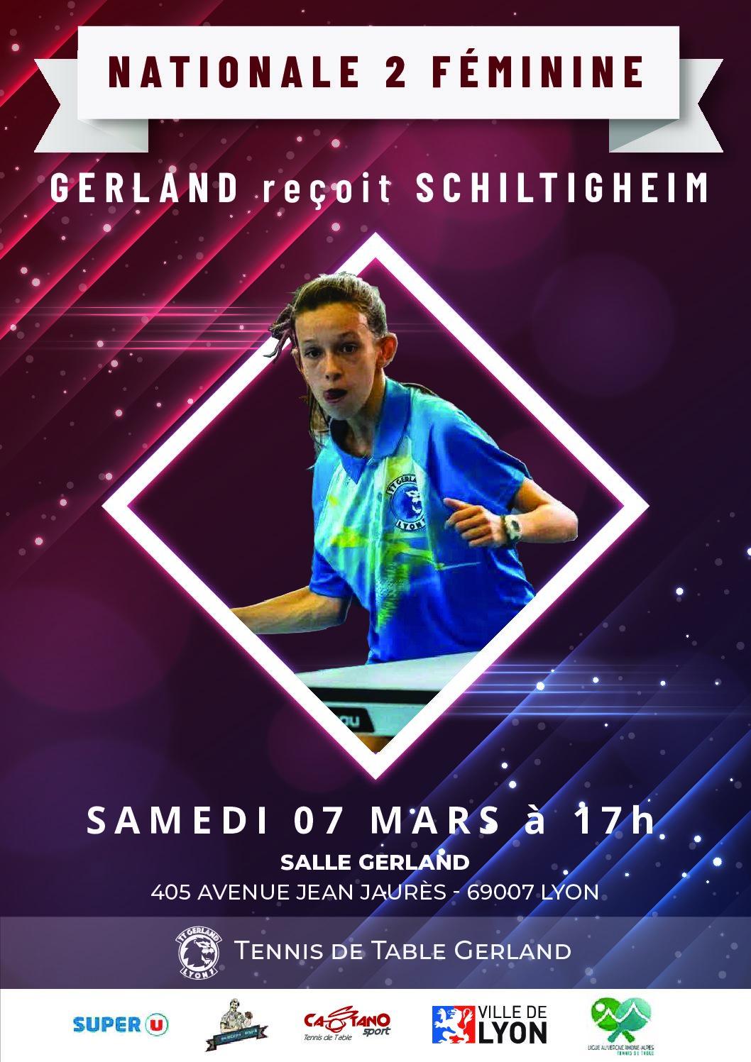 samedi 7 mars 2020 : Nationale 2 féminine – GERLAND reçoit SCHILTIGHEIM