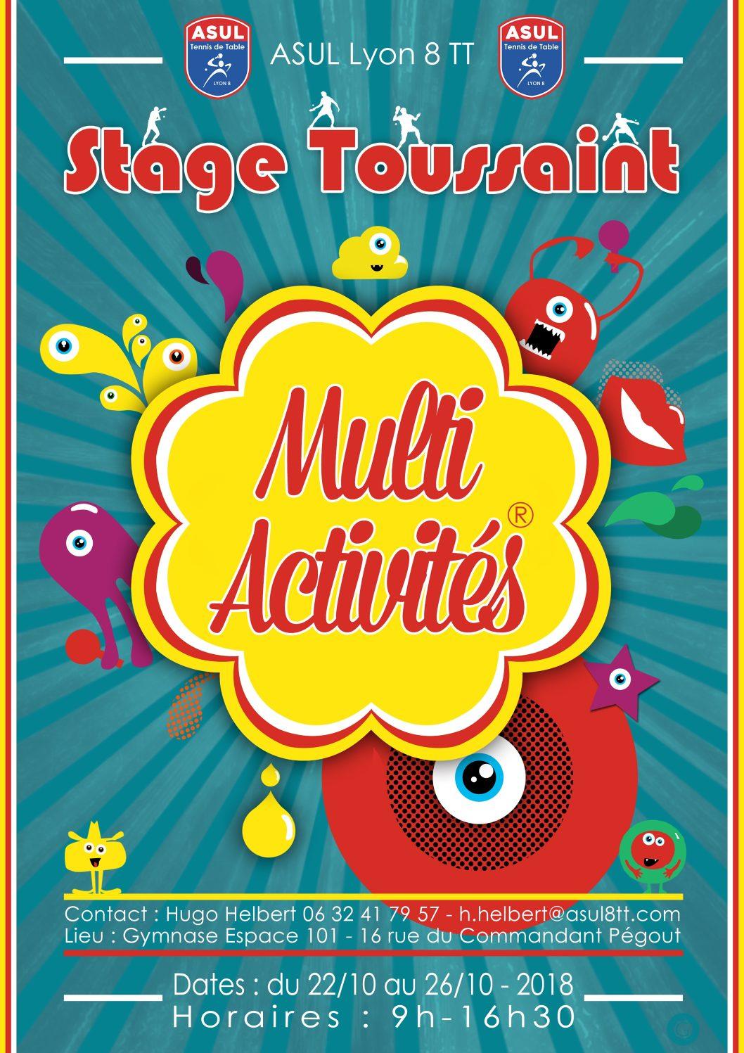 22 au 26 octobre : l'ASUL 8 TT organise un stage ping/multi-activité