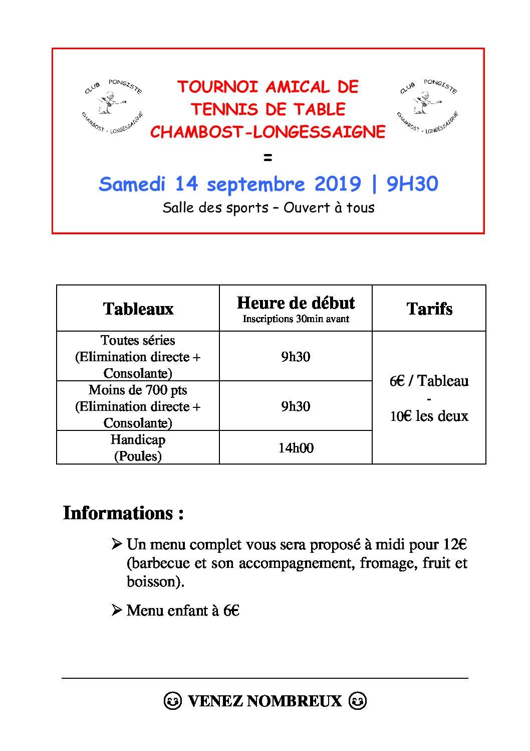 14 septembre 2019 : tournoi annuel du club de tennis de table de Chambost-Longessaigne (CPCL)