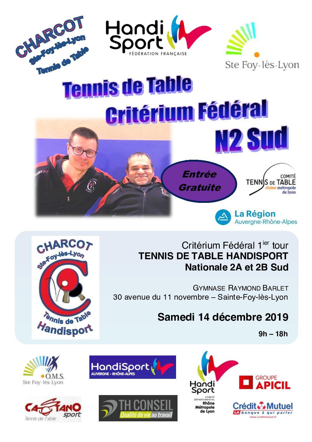 Samedi 14 décembre 2019 : 1er tour de Critérium Fédéral Handisport National 2 à Ste-Foy-lès Lyon