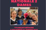 Samedi 18 janvier 2020 – Nationale 2 Dames : TTG reçoit Béthune