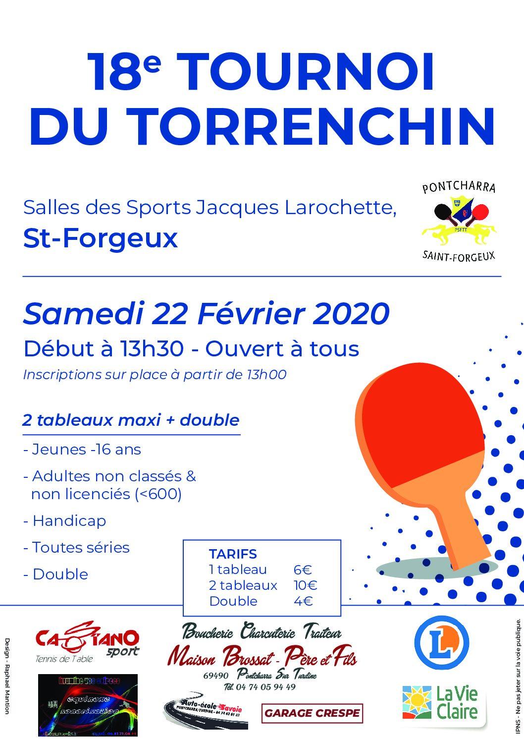 Samedi 22 février 2020 : 18ème Tournoi du Torrenchin à St Forgeux