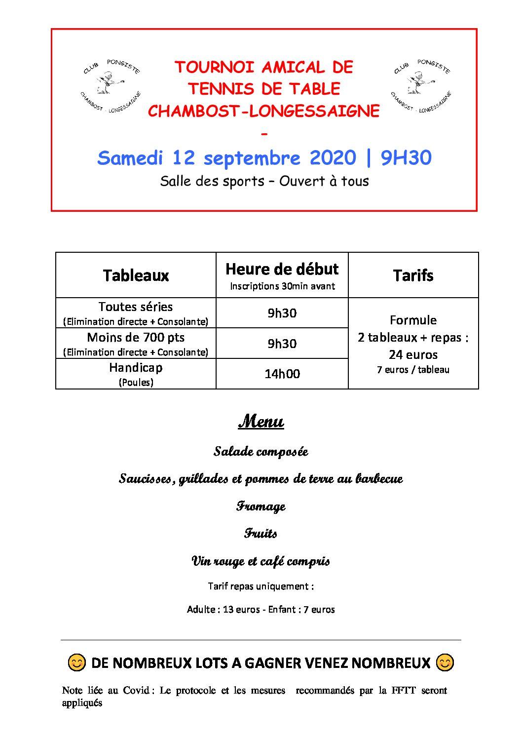 Samedi 12 septembre 2020 : tournoi amical de tennis de table du CP Chambost-Longessaigne